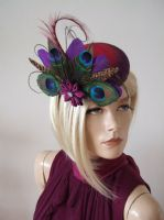 Purple Fuchsia Ombre Peacock & Pheasant Large Button Headpiece Fascinator Ascot Hat. Peacock Fascinator. Peacock Feather Wedding Fascinator. Peacock Mother of the Bride Fascinators.